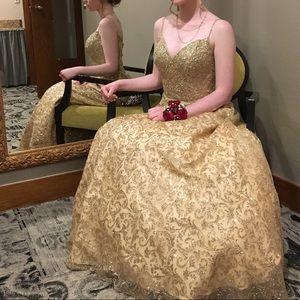 Golden Jeweled Prom Dress  SIZE 2!